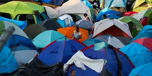 This October 2019 photo shows a migrant camp in Matamoros, Mexico.