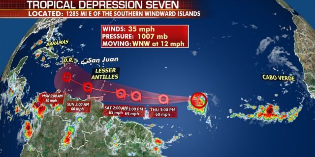 The current location of Tropical Depression Seven and forecast track as of Wednesday morning, July 22, 2020.