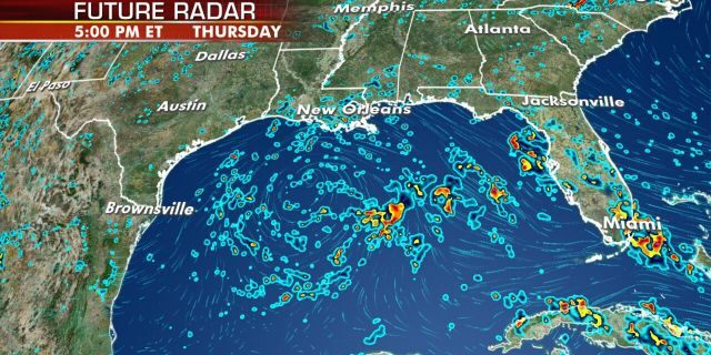 The system is producing showers and thunderstormsover the eastern Gulf of Mexico, central and southern Florida, and into western Cuba.