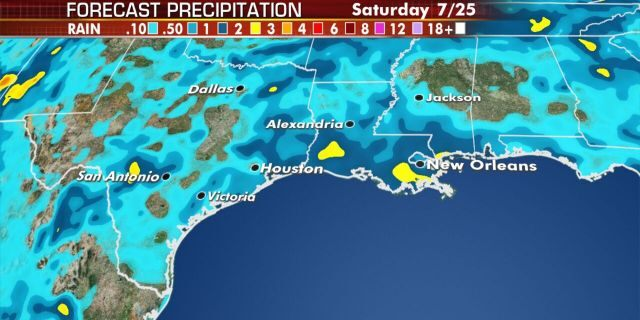 Showers and thunderstorms will increase along the Gulf Coast through the rest of the week.