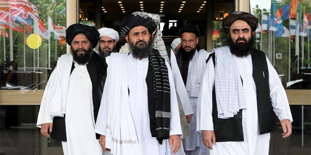 Members of a Taliban delegation leaving after peace talks with Afghan senior politicians in Moscow in May 2019. (REUTERS/Evgenia Novozhenina)