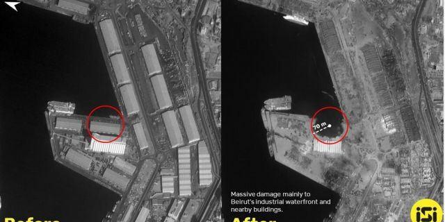 Side-by-side satellite images of the Beirut blast before and after (ISI Imagesat International)