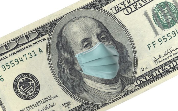 American One Hundred Dollar Bill with surgical mask. Protection from Coronavirus on economy. High resolution image for all crop sizes. White background.
