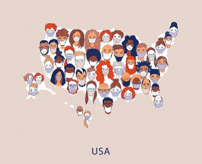 Adult women men children Diverse crowd of people wearing medical masks pattern background. Protection and precention coronavirus infection. Map of USA Line drawing doodle vector illustration poster