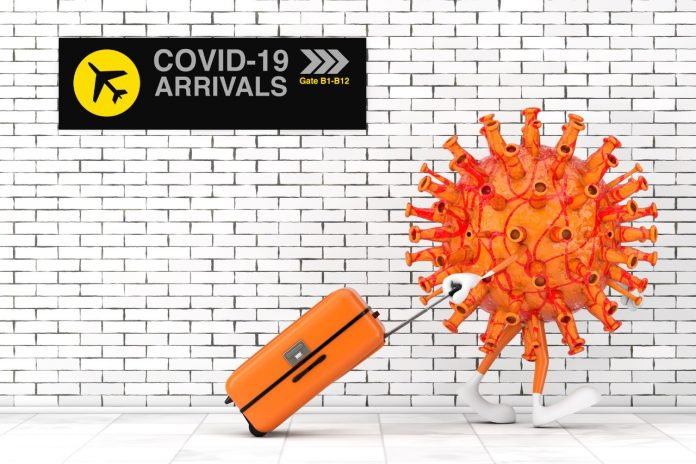 Cartoon Coronavirus COVID-19 Mascot Person Character Arrival to Airport with Brick Wall extreme closeup. 3d Rendering
